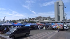 Trade area of the city. Stock Footage