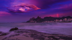 Time Lapse of sunrise at Arpoador Beach in Rio, Brazil. Stock Footage