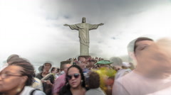 Time-lapse of Christ the Redeemer Statue and the tourists around it. Stock Footage