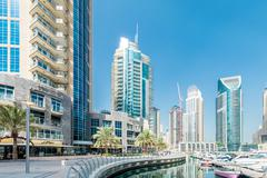 Stock Photo of Dubai - AUGUST 9, 2014: Dubai Marina district on August 9 in UAE