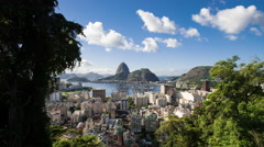 Time-lapse between trees overlooking Rio and Sugarloaf Mountain. Stock Footage