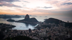 Time lapse of sunset over looking Rio, Brazil and Sugar Loaf Mountain. Stock Footage