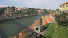 Boat floating near Calem Winery building in Porto Stock Footage