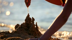 Girl on the Sea Builds a Sand Castle Antalya Stock Footage