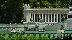 Madrid, Spain. Tourist and locals in El Retiro park Stock Footage