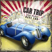 attractive retro car trip design poster - stock illustration