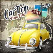 attractive car trip poster design - stock illustration