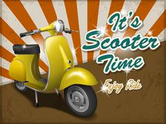 Scooter travel concept poster design Stock Illustration