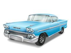 veteran classic blue car - stock illustration