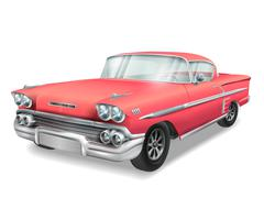 veteran classic red car - stock illustration