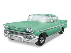 veteran classic green car - stock illustration