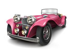 Attractive classic pink car Stock Illustration