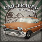 Veteran classic brown car with retro background Stock Illustration