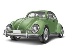 veteran classic small green car - stock illustration
