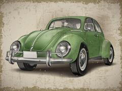 Veteran classic small green car Stock Illustration