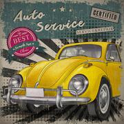 veteran classic small yellow car - stock illustration