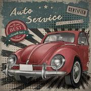 veteran classic small red car - stock illustration