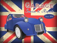 classic blue car - stock illustration