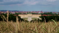 High-angle view of Vienna with out of focus in the middle: Schonbrunn castle Stock Footage
