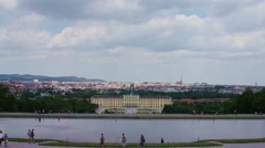 The pond in front of the Gloriette, with Schonbrunn Castle in the background Stock Footage
