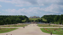 View towards the Gloriette at Schonbrunn castle Stock Footage