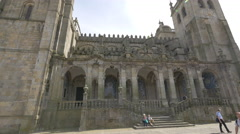 Entrance of Porto Cathedral Stock Footage