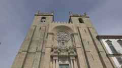 The main entrance of Porto Cathedral Stock Footage