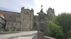 Vimara Peres statue and Porto Cathedral Stock Footage