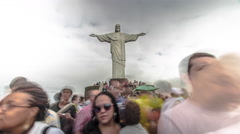 Time-lapse of Christ the Redeemer Statue and the tourists around it 8K Stock Footage