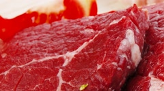 Fresh raw beef meat fillet on wood Stock Footage
