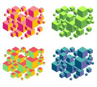 floating isometric group of cubes composition over white - stock illustration