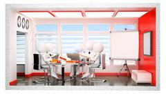 3D white people. Section of daily office life. Informal meeting - stock illustration