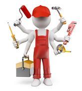 3D white people. Multitasking handyman - stock illustration