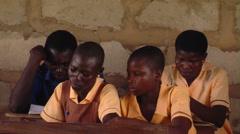 African kids reading in school. Stock Footage