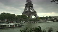 ULTRA HD 4K real time shot,Tour Boats on Seine River, Paris Stock Footage