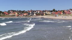 Surf and breakers on Hundested Beach, Hundested, Denmark Stock Footage