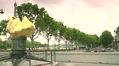 ULTRA HD 4K real time shot,The Flame of Liberty, Paris Stock Footage