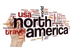 North America word cloud concept - stock photo