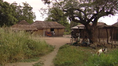 Wide shot of a little village in Africa. Stock Footage