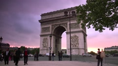 ULTRA HD 4K real time shot with Arc de Triomphe in Paris Stock Footage