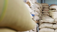 Bags of beans at the coffee factory Stock Footage