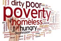 Poverty word cloud Stock Photos