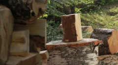 Finishing wood chopping fith an old axe Stock Footage