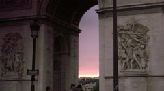 ULTRA HD 4K real time shot with Arc de Triomphe in Paris - stock footage