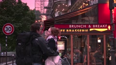 ULTRA HD 4K real time shot,The Typical bar in the old town of Paris, Stock Footage