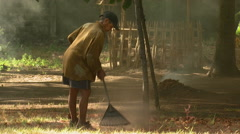 Man raking leaves in Bali. Stock Footage