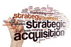 Strategic acquisition word cloud - stock photo