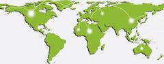 Stock Illustration of Map of world with trading paths and points