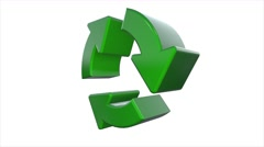 Spinning Recycle Recycling symbol logo animation Stock Footage