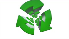 Zoom Green Recycle Recycling symbol logo animation - stock footage